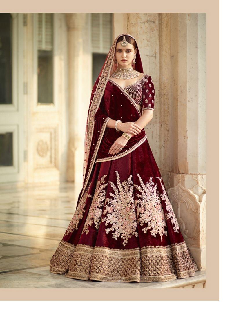 8e9aed1cb6 Buy Maroon Velvet Lehenga Choli Online | Lehenga Choli | Bridal ...
