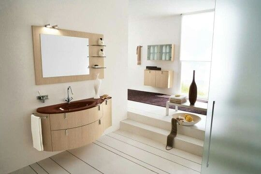 Salle de bain : lumineuse, bois beige | maison | Meuble ...