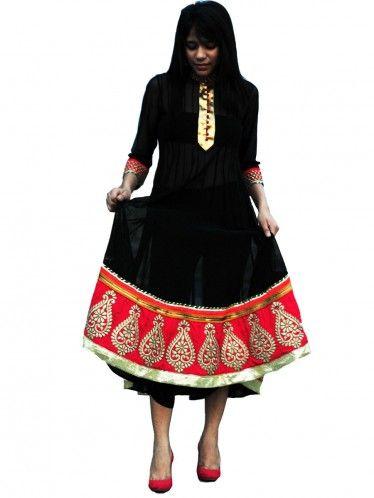Buy black Anarkali dress with heavy border- Latest Anarkali Dress ...
