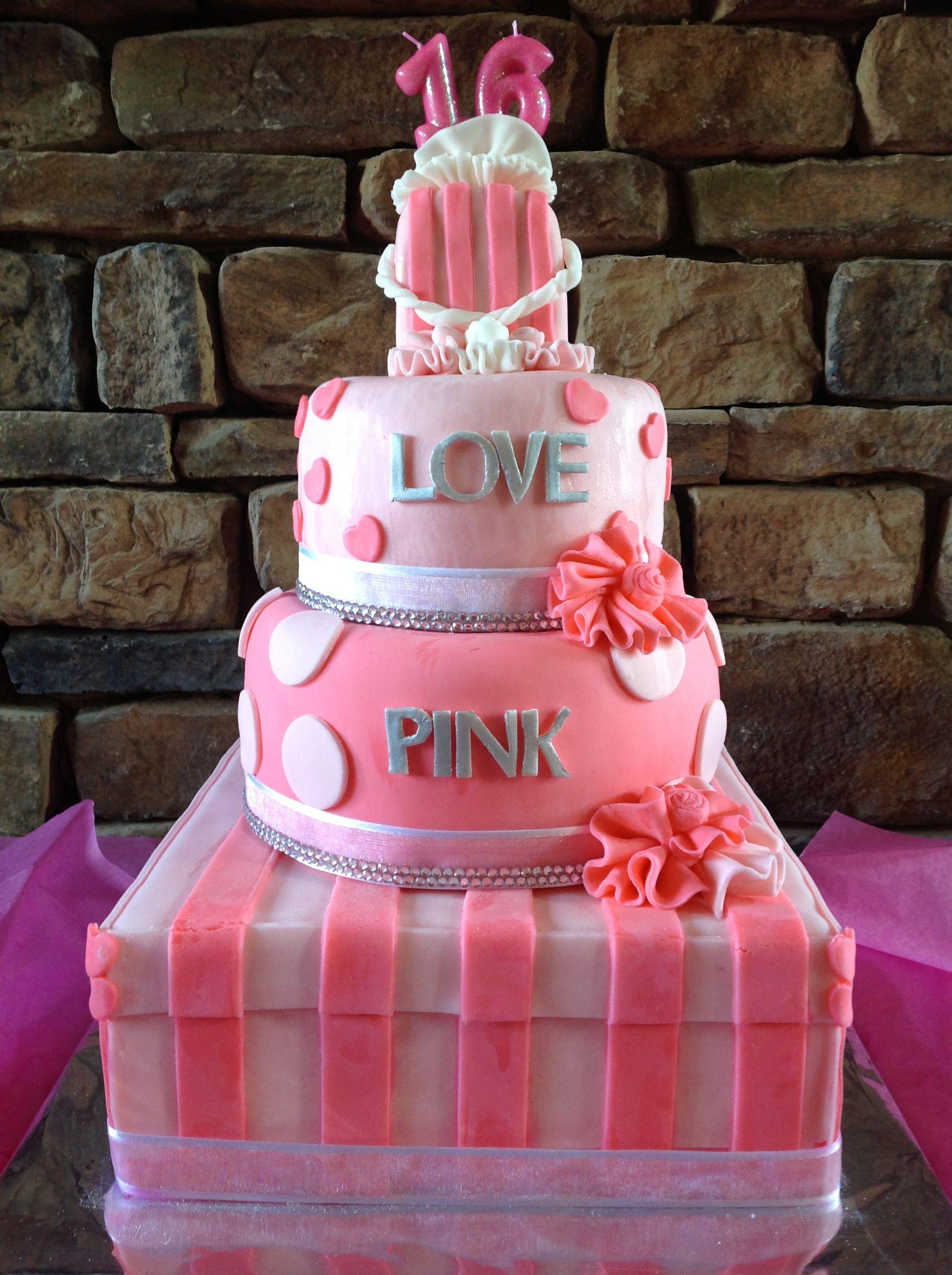 victoria secret pink cake decorations
