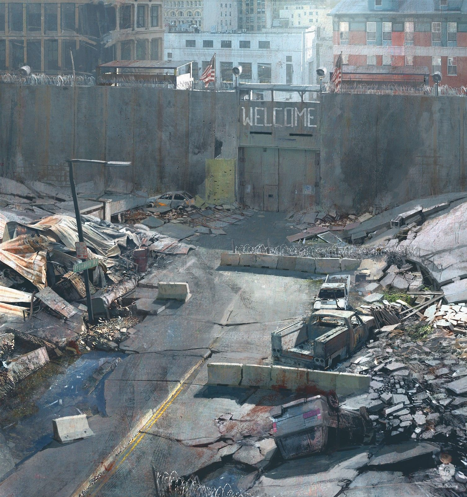 City Gate is concept art for PlayStation 3 game The Last of Us. The image and print have been made by concept artist Maciej Kuciara for studio Naughty Dog
