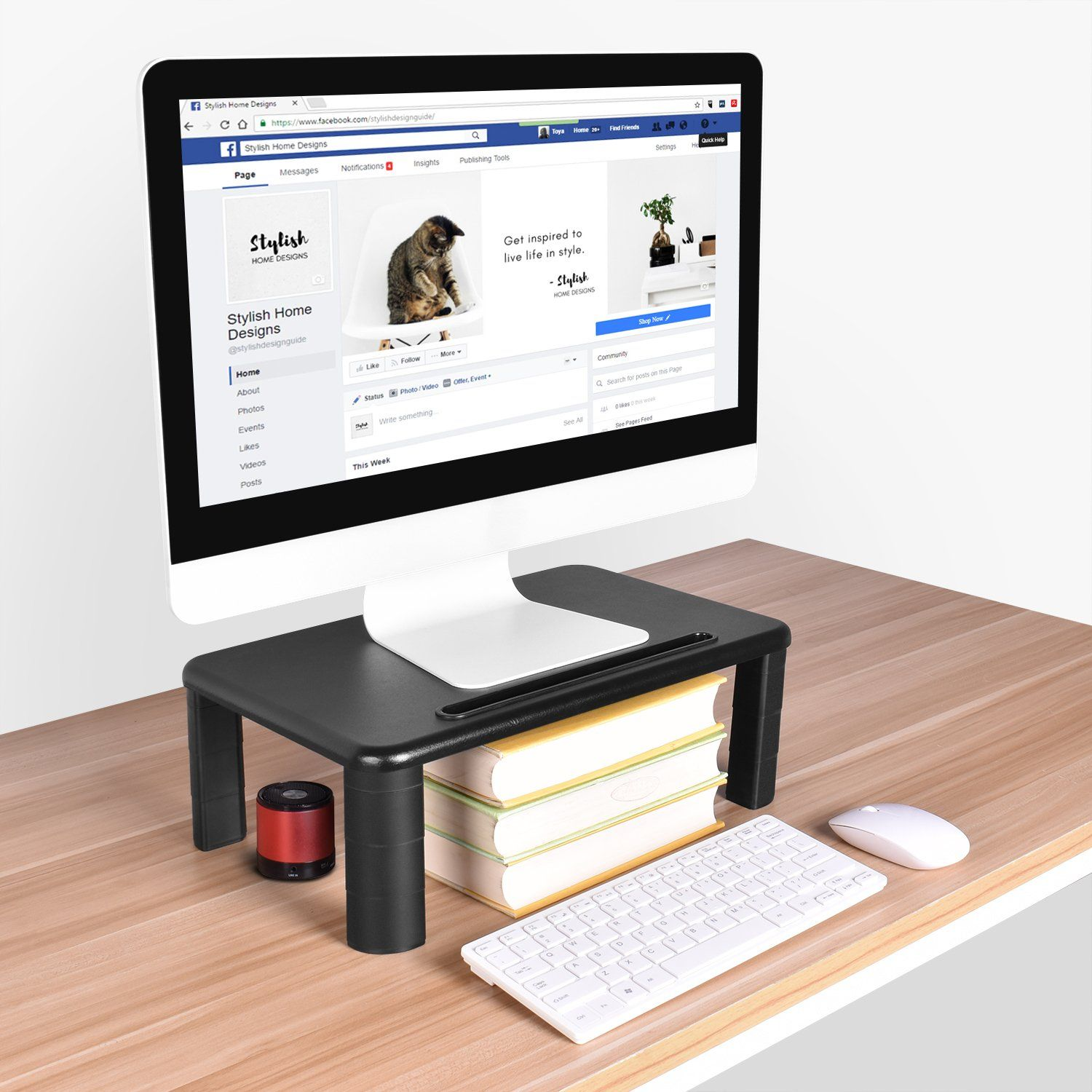 Monitor Stand Riser with Adjustable Height and Storage Organizer