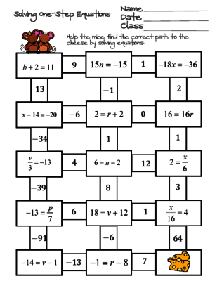 Solving One-Step Equations Maze from Ayers Math Flares on