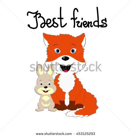 Template for greeting card with friendship day A couple of hare - friendship card template