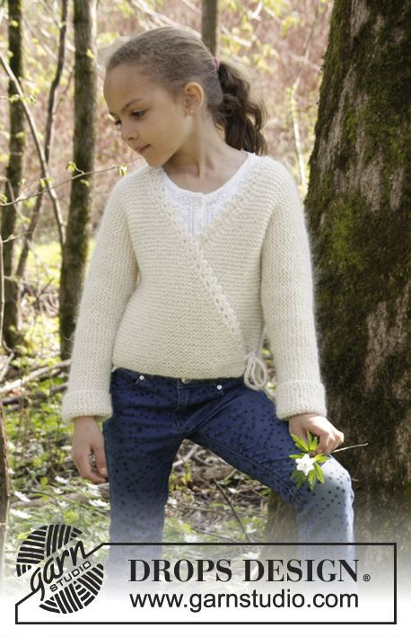 Titania jacket for girls by DROPS Design. Free knitting pattern ...