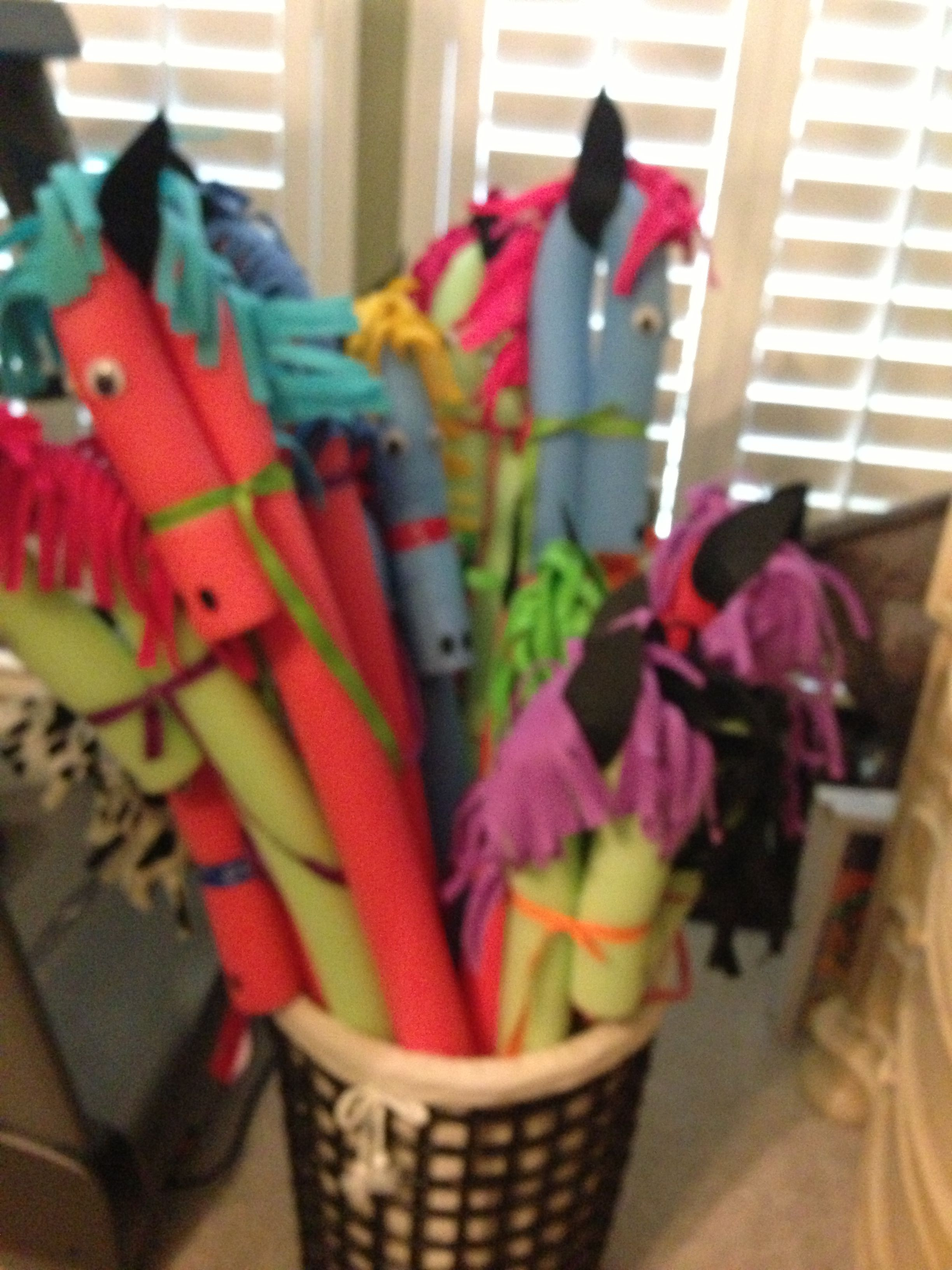 pool noodle stick horses-then you can make them smaller for little kids and the stick won't break the tv :)