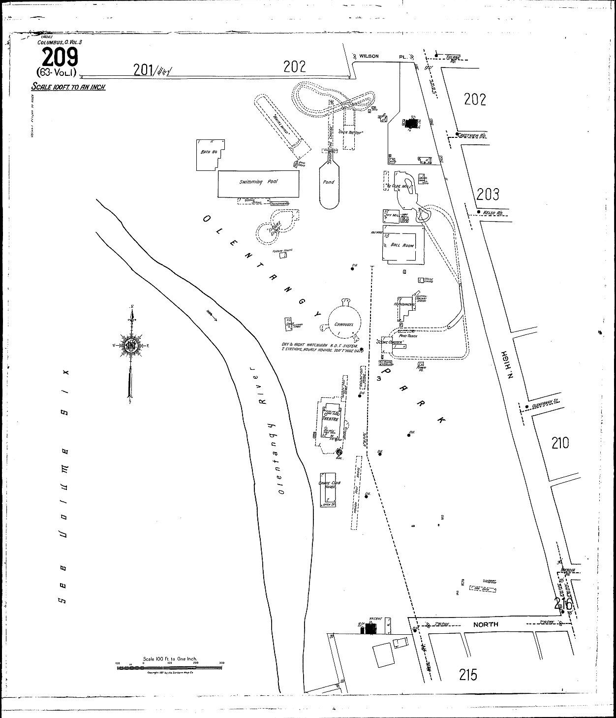Olentangy Park Map In Clintonville Area Of Columbus