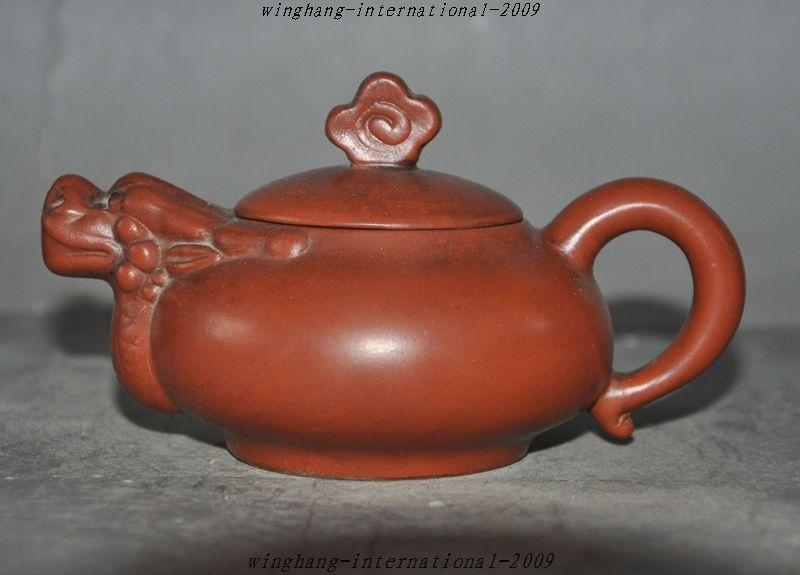 Christmas Marked Chinese Yixing Zisha Pottery Carved Dragon Head Statue Teapot Tea set Halloween