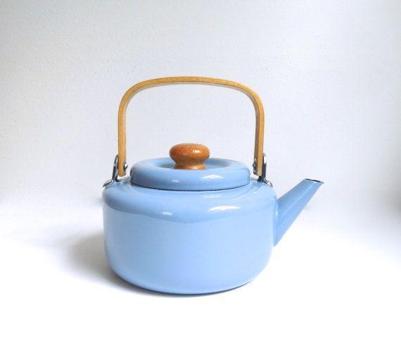 Vintage Light Blue Enamel Tea Kettle Teapot By Bybeevintage Tea Kettle