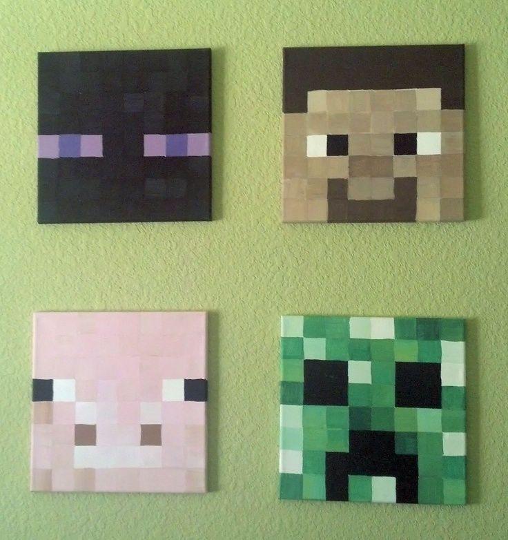 Minecraft heads painted on canvas minecraft pinterest minecraft heads canvases and diy ideas - Minecraft head decoration ...