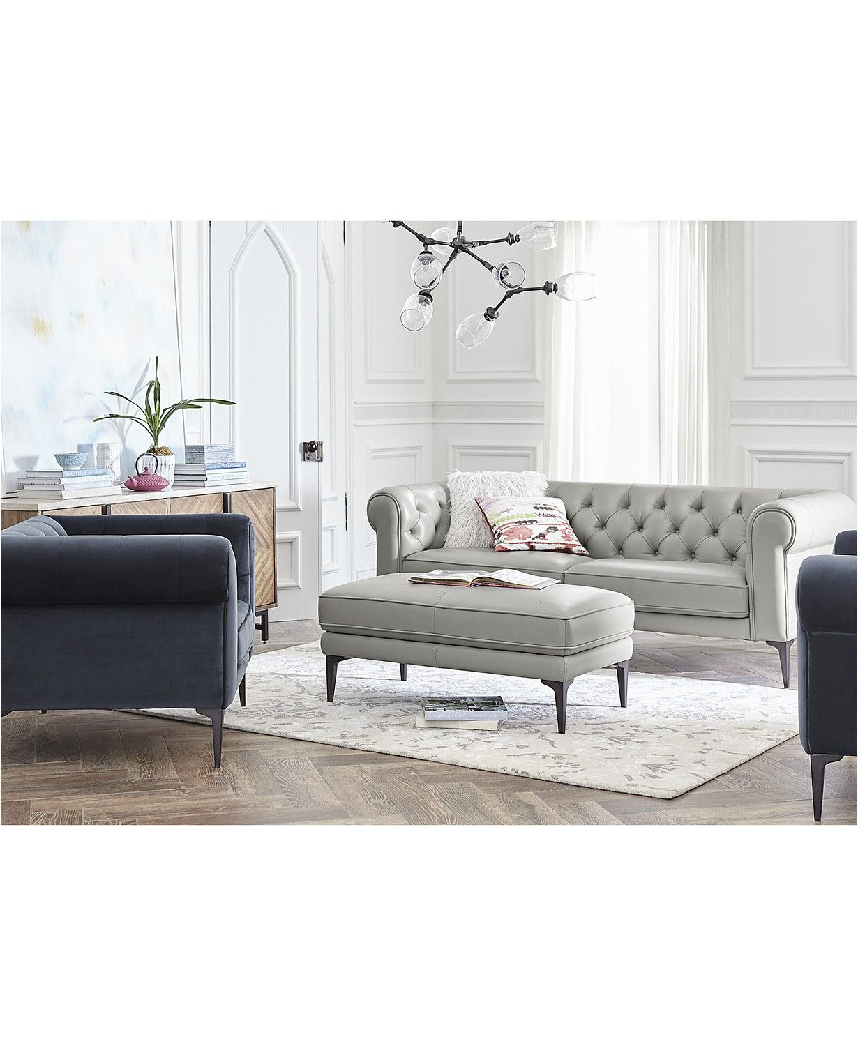 Furniture Remina Leather And Fabric Sofa Collection Furniture Macy S Macysfurn Glam Living Room Furniture Living Room Furniture Living Room Furniture Sale