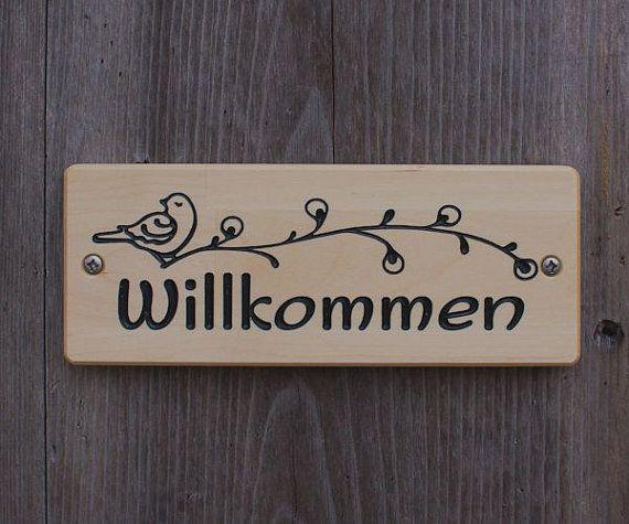 Willkommen Schild Birch 7 5 X 2 8 In 190 X 70mm Welcome Sign