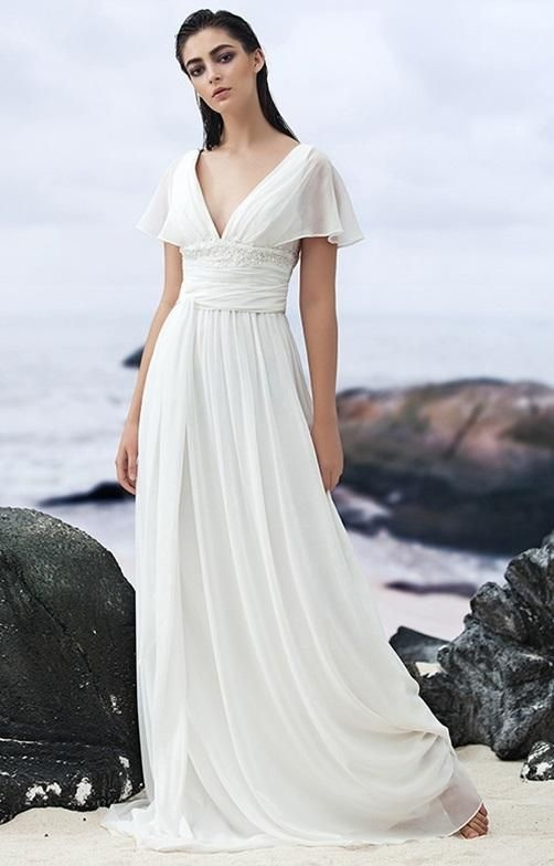 Georgette A Line Wedding Gown With Empire Waist