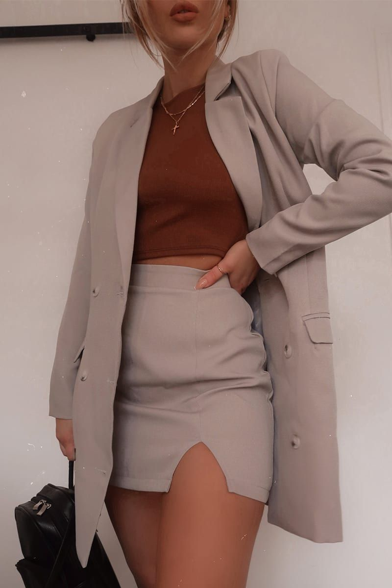 Fashion influx grey woven double breasted blazer