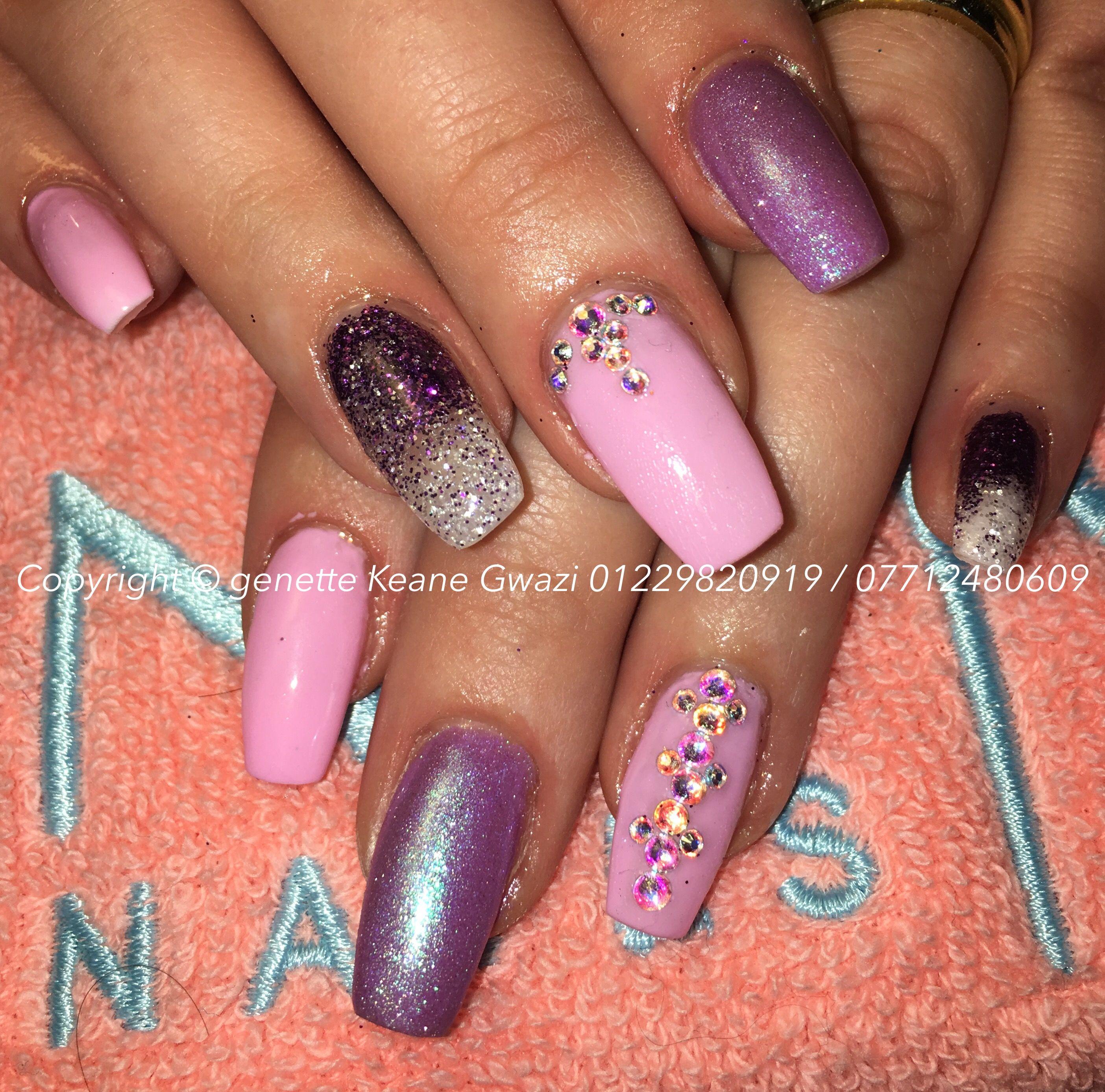 Ombre glitter nail art, purple & pink gel polish with Swarovski nail art