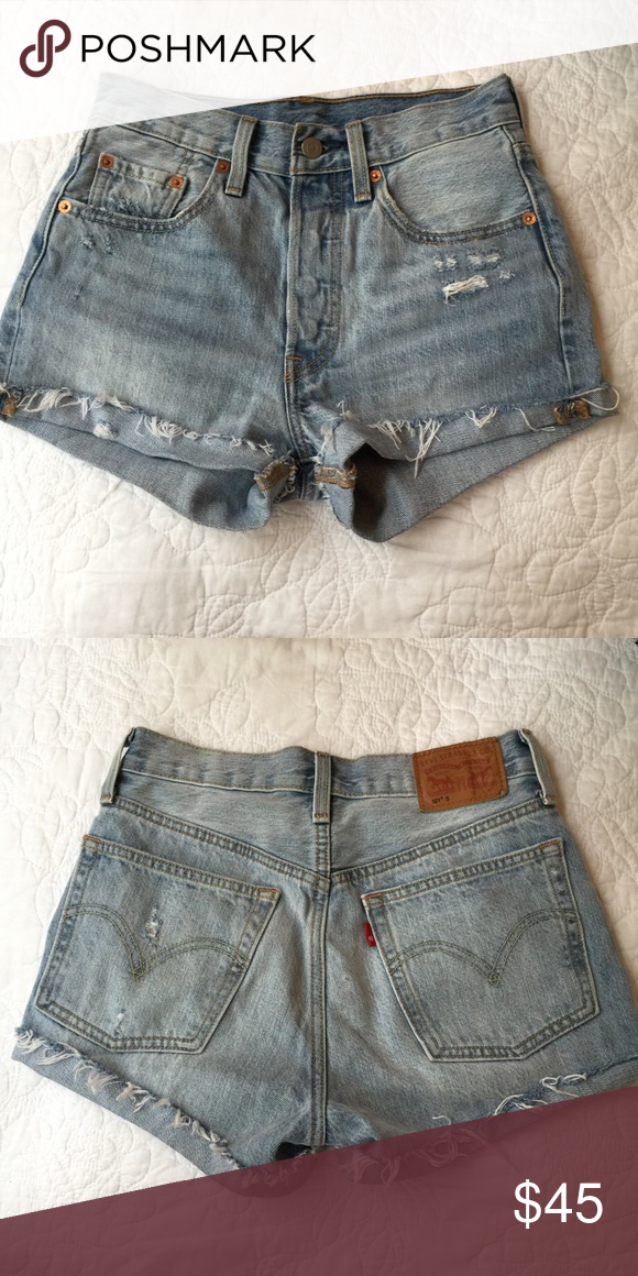 3b58227205 Levi's 501 denim high waisted shorts Levi's 501 jean shorts in light wash.  Cuffed and