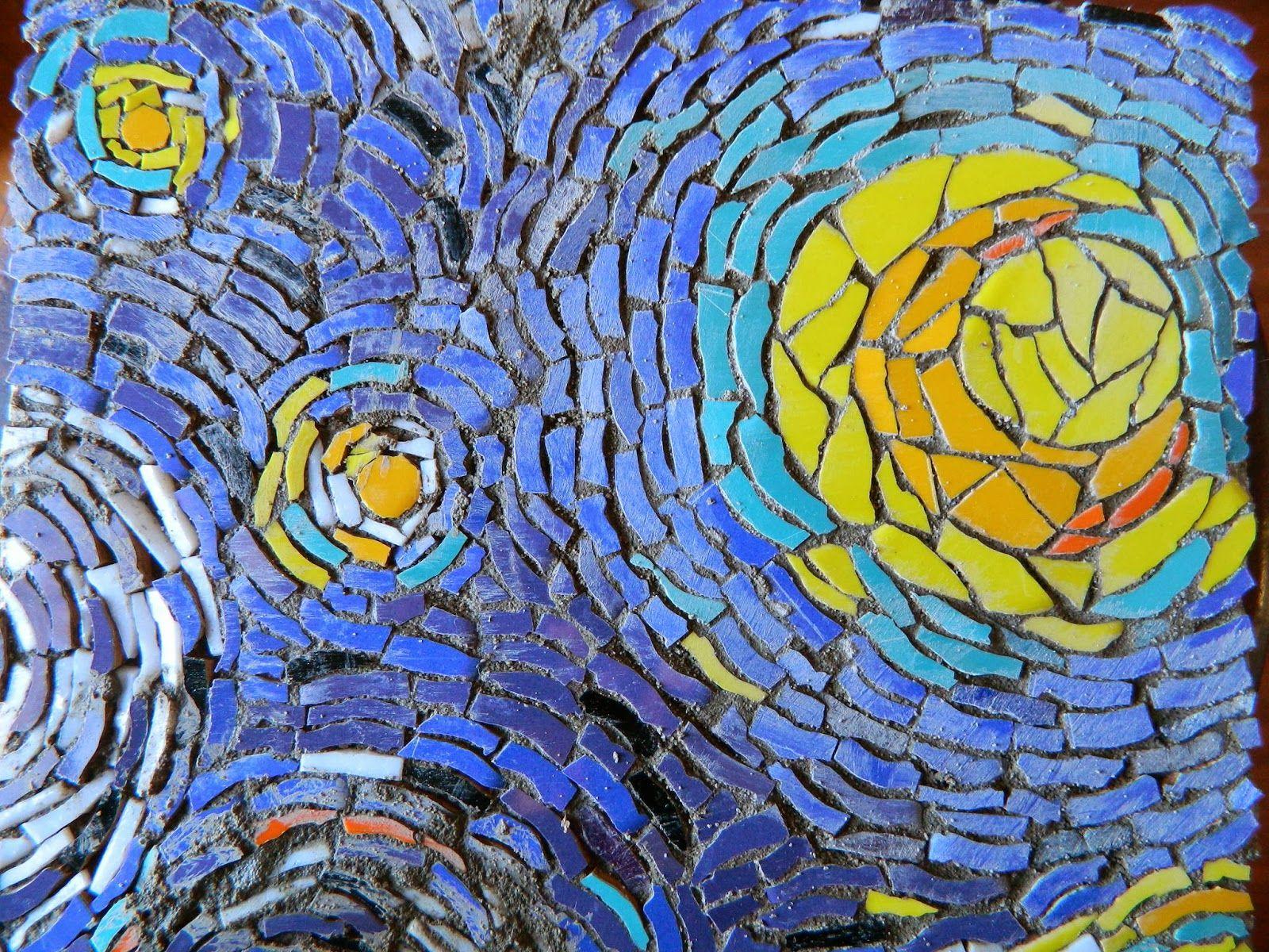 Noche Estrellada Van Gogh Arte En Parte Taller Multiarte Jornada De Mosaico Sobre Malla Mosaic Art Vincent Van Gogh Paintings Painting