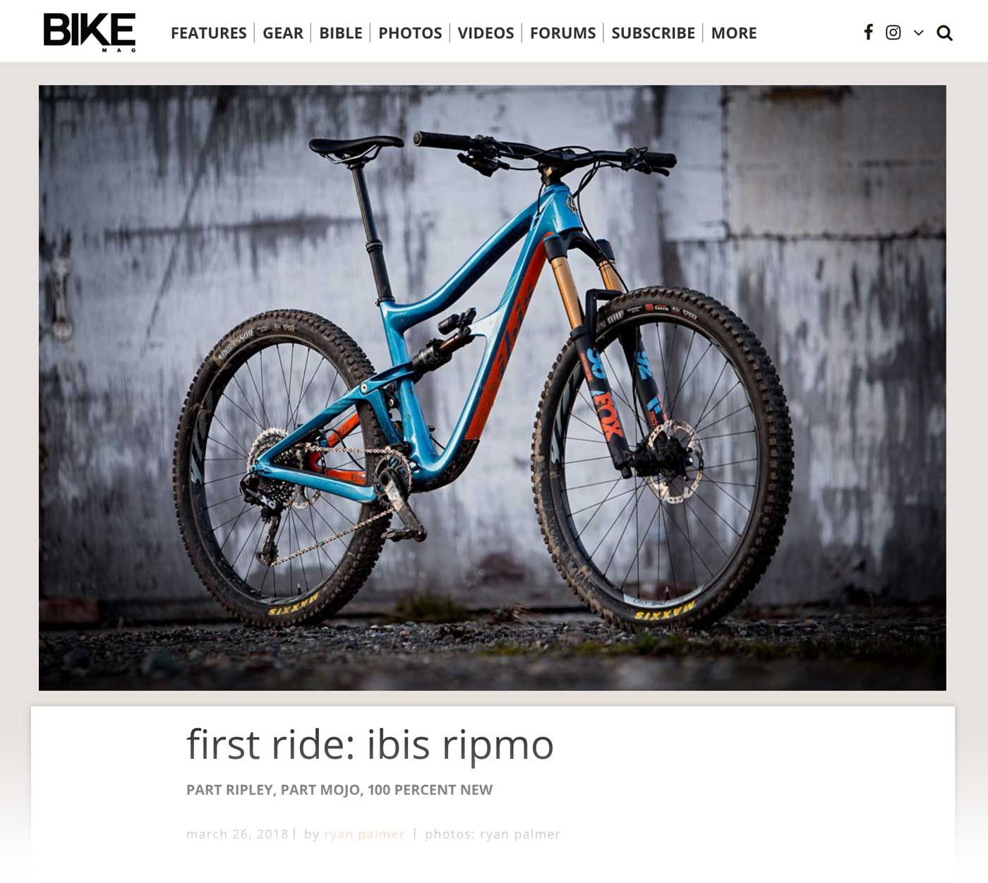 First Ride Ibis Ripmo Bike Magazine Racing Bikes Riding