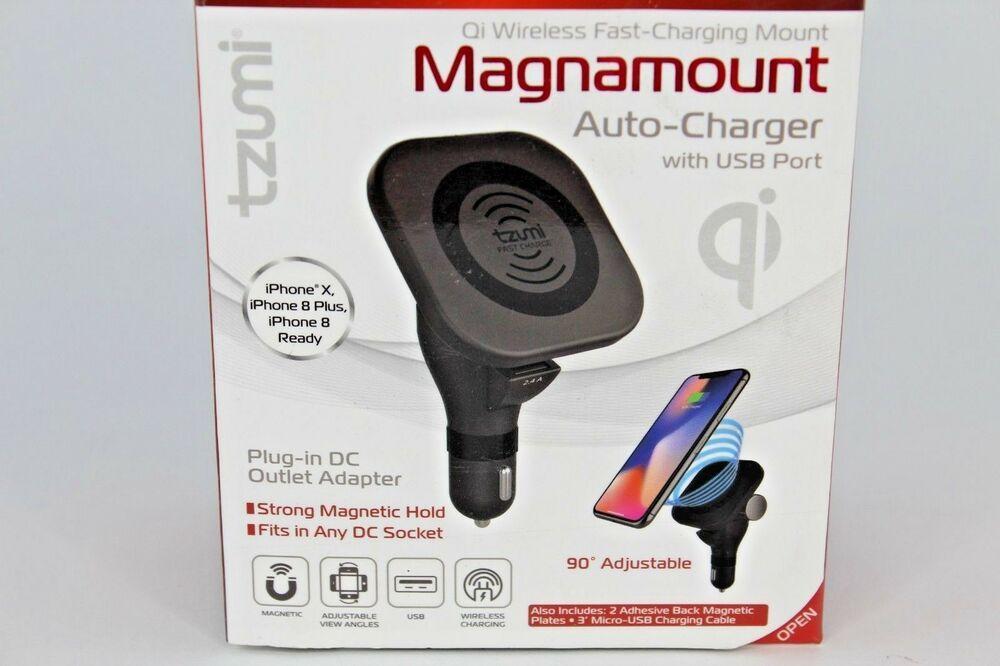 super popular 676c7 9966d Tzumi iPhone Wireless Charging Magnamount Auto Charger W/USB Port ...
