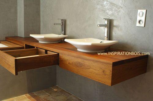Console de salle de bain en teck suspendue pour vasques avec tiroir salle de bain bathroom for Console de salle de bain