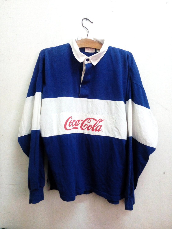 83f15366701 Vintage Rare Coca-Cala Big LoGo Rugby Shirt designed by Tommy Hilfiger Rap…