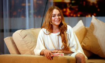 "LONDON, ENGLAND - SEPTEMBER 30:  Lindsay Lohan attends a photocall for ""Speed The Plow"" at Playhouse Theatre on September 30, 2014 in London, England.  (Photo by Tim P. Whitby/Getty Images)"