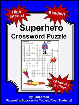 picture relating to Superhero Crossword Puzzles Printable titled Superhero Pursuits, Vocabulary Crossword Puzzle, Superhero