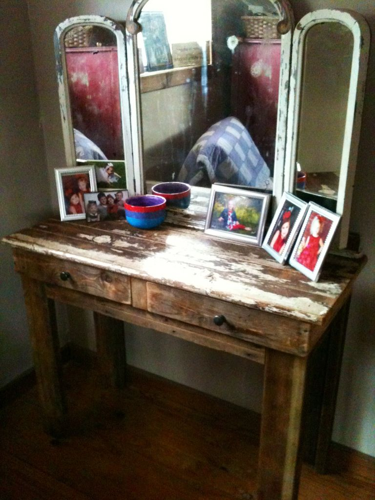 Makeup vanity made from recycled pallets, old bed frame