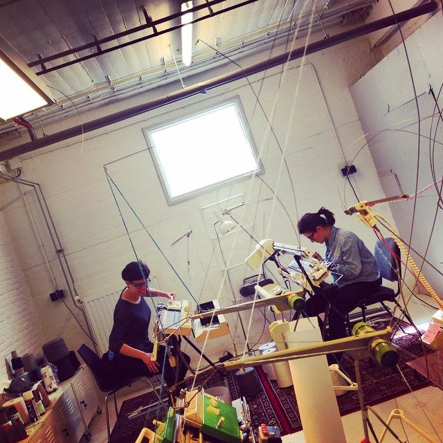 It has been a while but #today we are finally #machineknitting together in our #sunny #studio. This is how we work.