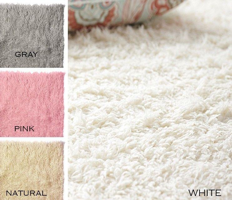 Flokati Shaggy Wool Shag Rug 3x5 4x6 5x7 6x9 8x10 9x12 White Natural Pink  Grey