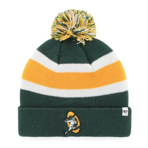 Green Bay Packers Beanie  47 Brand Breakaway Knit Hat. The hat features a  striped knit pattern with a large three-color pom pom up top. 3a3d0e138