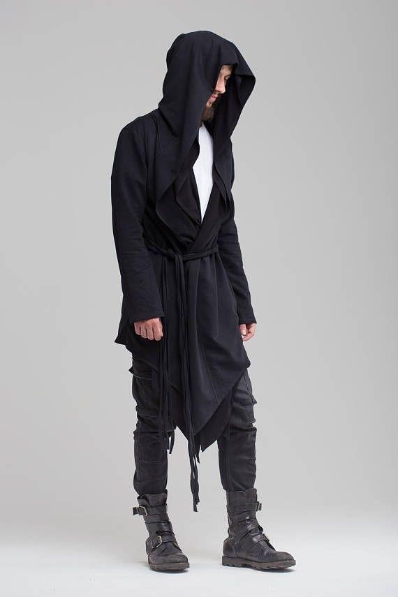 Pullover Cardigan Kapuze Strickjacke Herren Punk Gothic Lang Jacke Mäntel