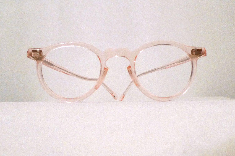 9ab670c9ada4 Iconic Round Blush Pink Eyeglass Frames. NOS. Warhol Frames. Circular  Sunglasses. Pastel Melon Salmon Clear.