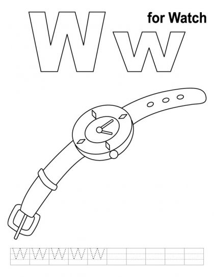 W for watch coloring page with handwriting practice Download Free