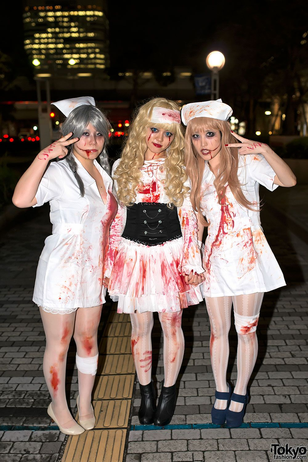 cute halloween nurses at the vamps halloween party from tokyofashioncom - Halloween Costumes Parties