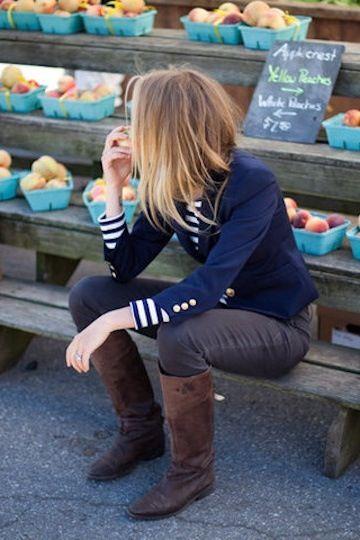 Blue blazer, striped top, dark gray jeans.