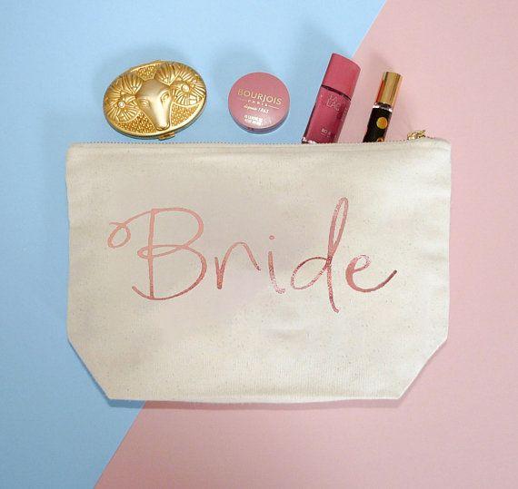 Make-Up Bag For Brides With Rose Gold Foil Design - Black