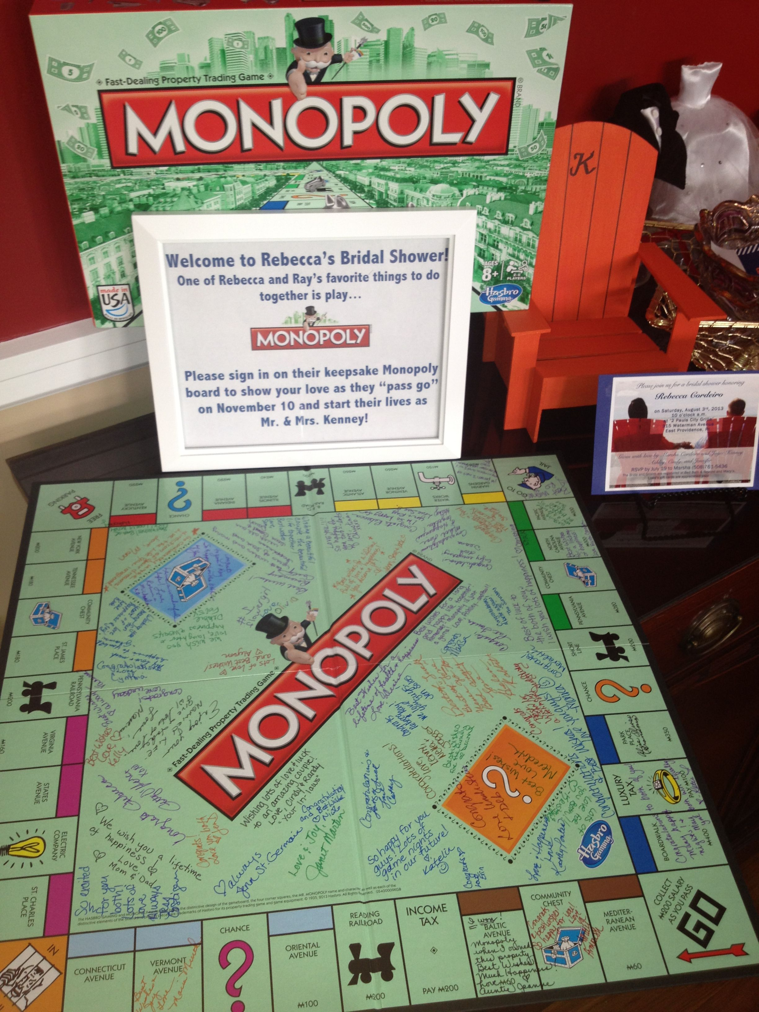 Monopoly guest book Wedding guest book board, Bridal