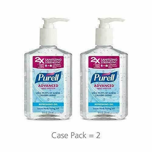 2 Pack Purell Advanced Hand Sanitizer Refreshing Gel Pump Bottle 8
