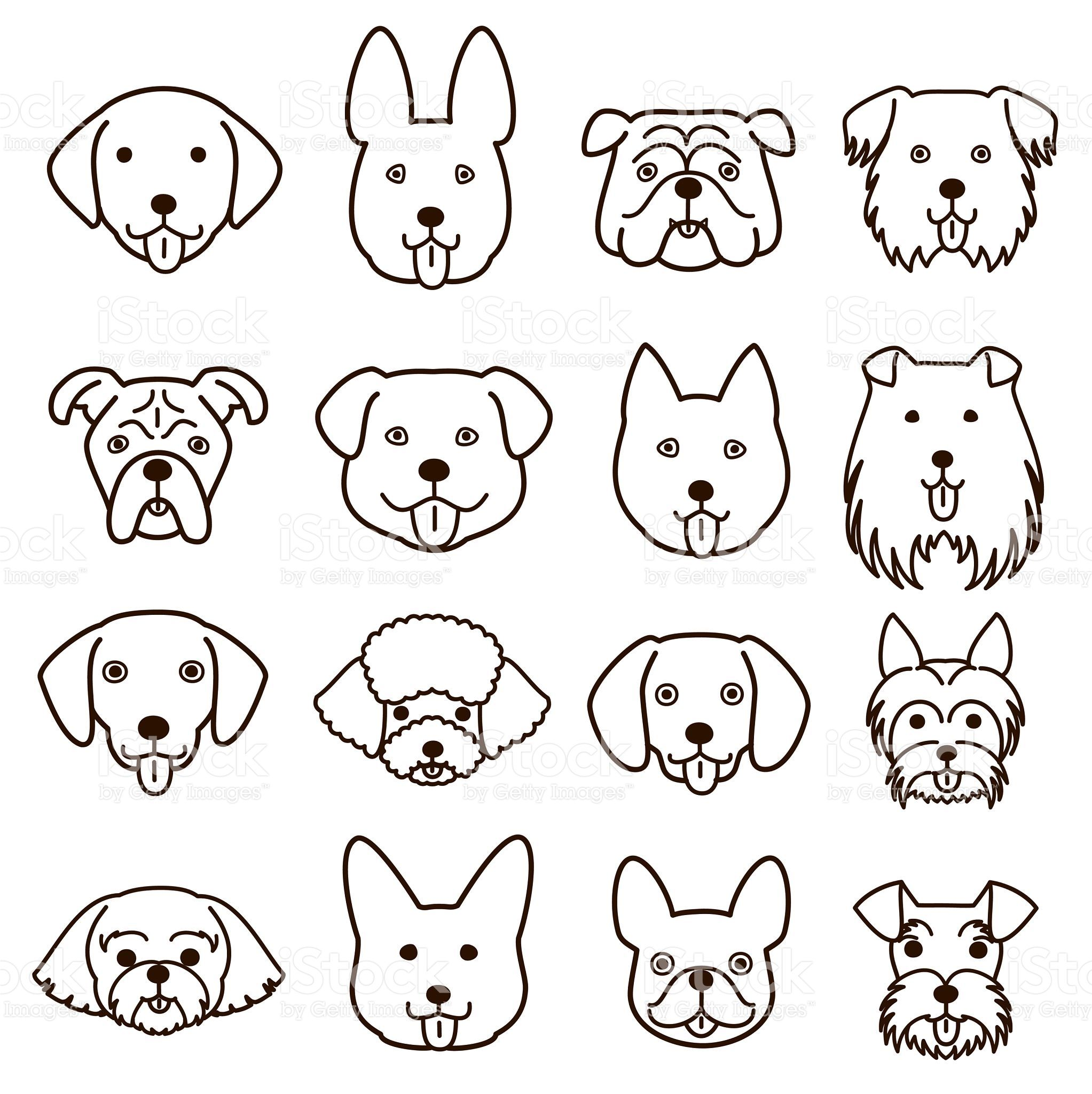Cute Dogs Faces Line Art Set Dog Face Drawing Dog Line Art