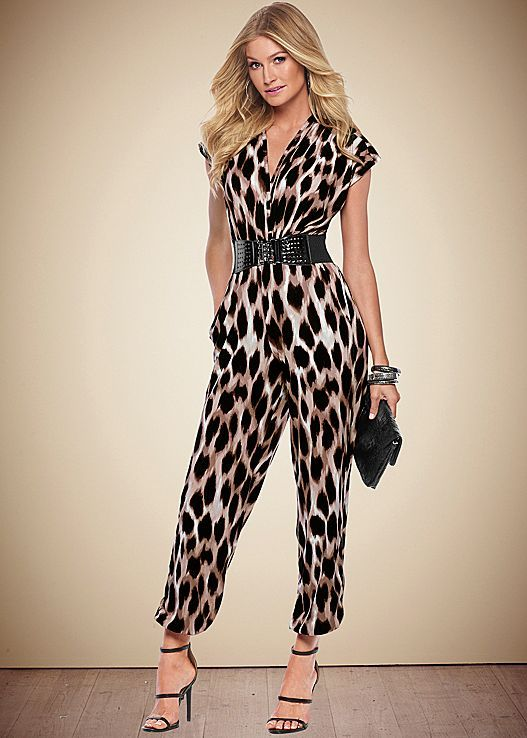 d0cee3f77c Make a loud statement with animal print! Venus belted leopard jumpsuit with  Venus high heel strappy sandal and Venus faux alligator clutch.