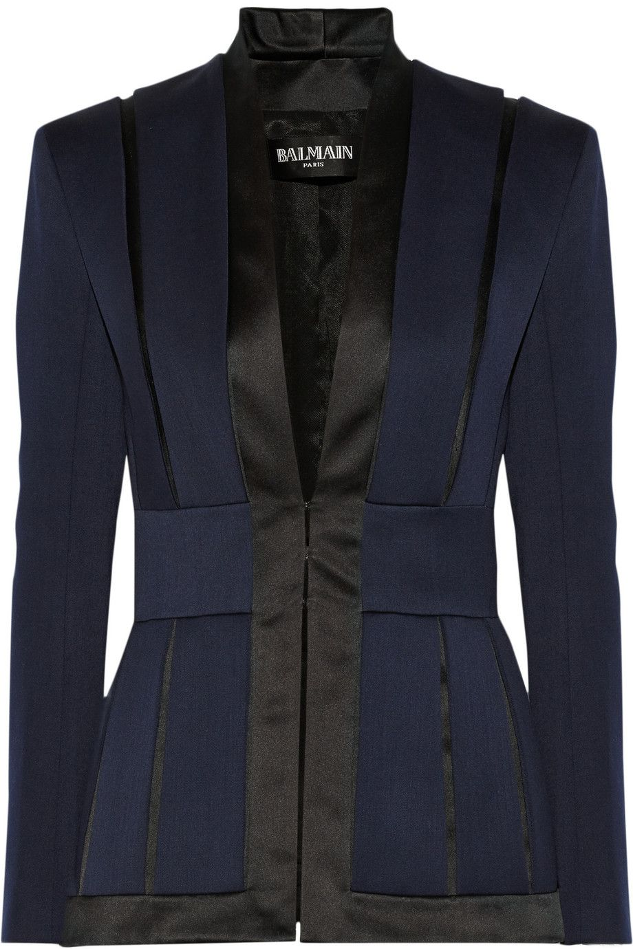 4815134537 BALMAIN Satin-Trimmed Wool-Crepe Blazer.  balmain  cloth  blazer ...
