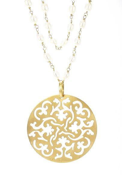 Colar Mandala Persa em ouro amarelo 18k, com pérolas de arroz ... 064c6483ab