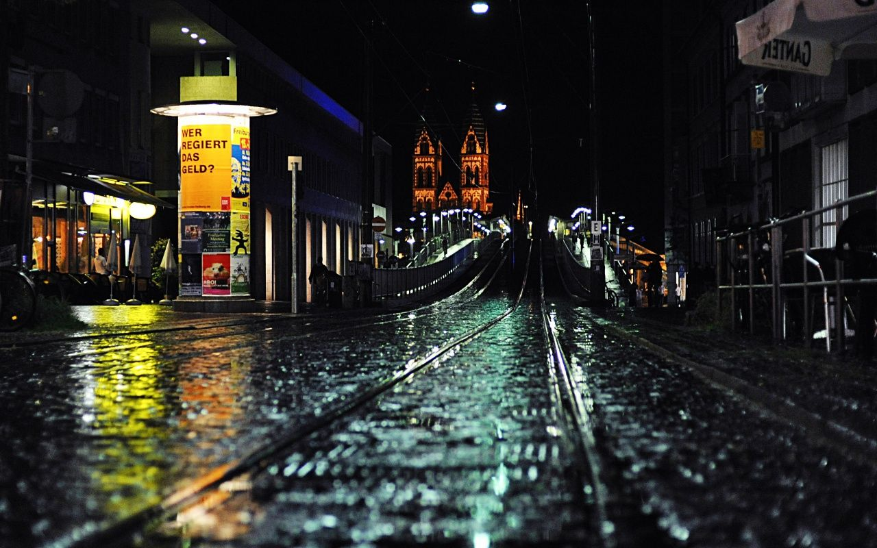 Music City Desktop Wallpapers 1280x800: Night Rain In The City - HD Wallpapers