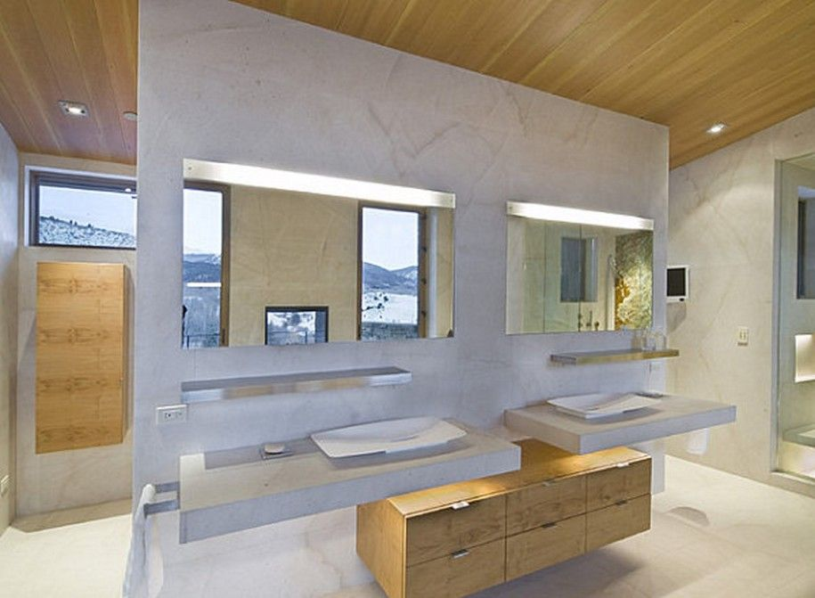 Modern Vanity Light Matches Mirror Width - Simple Cabinetry - Wood