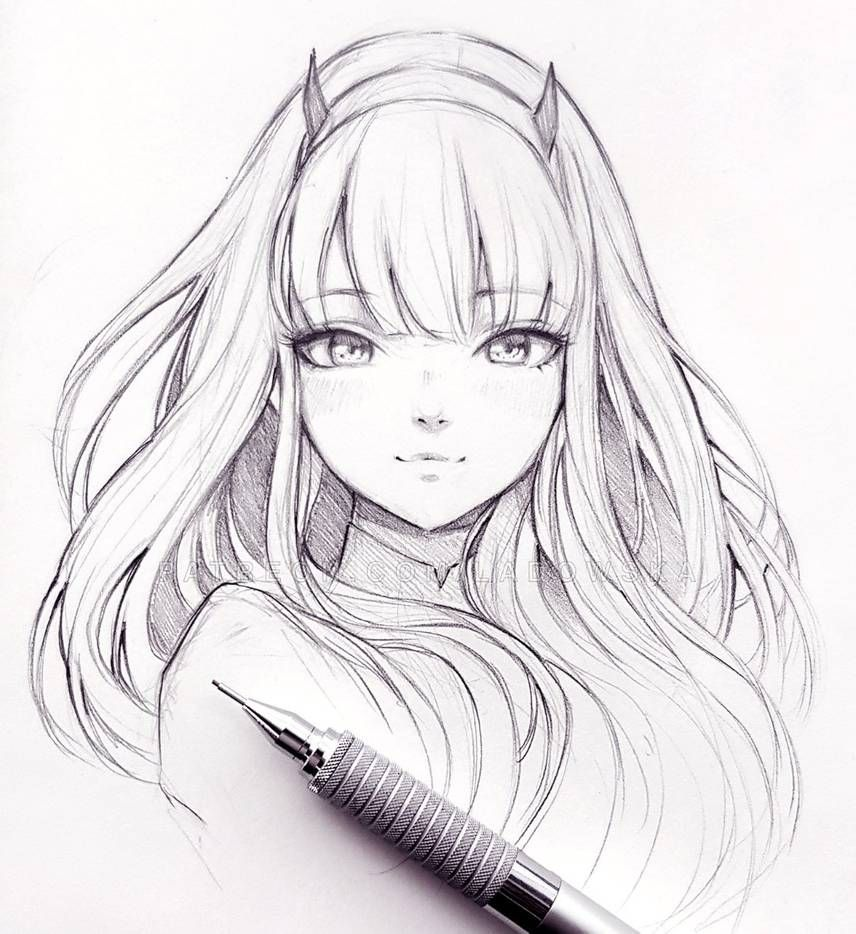 Zero Two From Darling In The Franxx By Ladowska On Deviantart Anime Drawings Anime Character Drawing Anime Drawings Tutorials