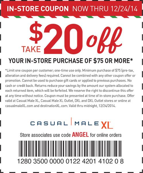 Pinned December 18th 20 Off 75 At Casual Male Xl Or Online Via Promo Code Angel Coupon Via The Coupons App Coupon Apps App Coupons