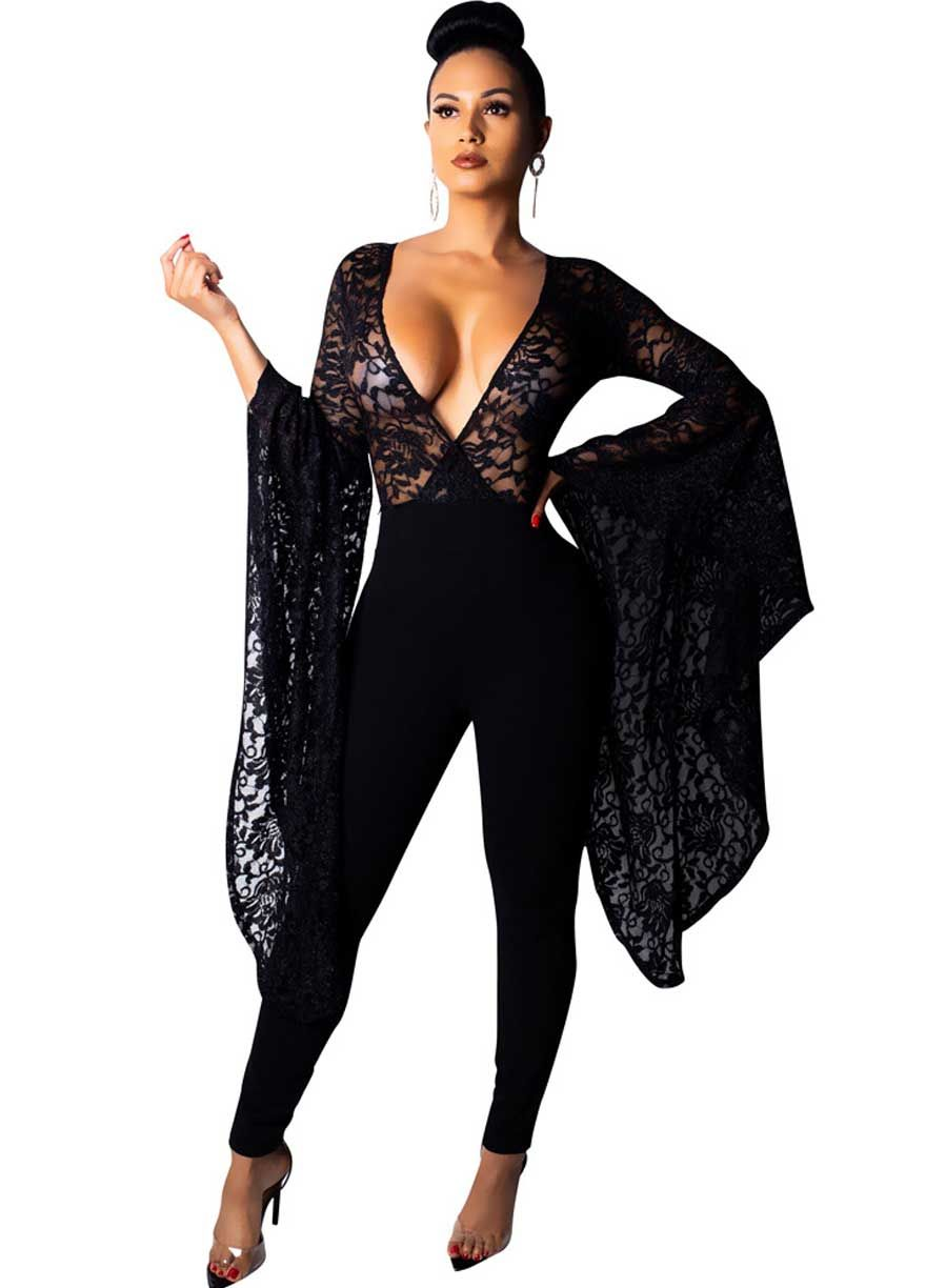 78b37174004 Bell Sleeve Sheer Floral Lace Top Jumpsuit Clubwear Jumpsuit Jumpsuit    Romper Sexy Lingeire