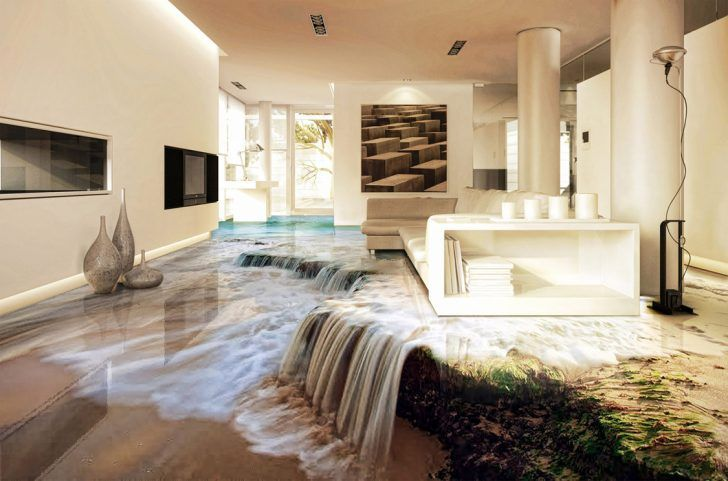 Contemporary Living Room With Waterfall 3d Epoxy Flooring Jaw Dropping Self Levelling 3D Floor Design