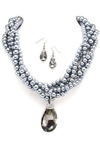 "18"" Womens Hematite & Blue Tone Pearl Braid Chain with Rhinestones & Drop Crystal Necklace Set Hail Mary Gifts, http://www.amazon.com/dp/B0097A41GS/ref=cm_sw_r_pi_dp_1c6Tqb0166ZX8"